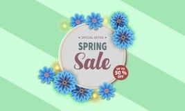 Insegna di vendita della primavera con il fiore variopinto royalty illustrazione gratis