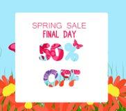 Insegna di vendita della primavera Fondo di vendita Grande vendita Etichetta floreale di vendita Immagine Stock