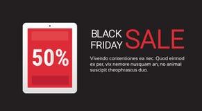 Insegna di vendita di acquisto di Black Friday del computer della compressa grande Immagini Stock