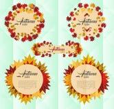 Insegna di vendita di autunno con le foglie di autunno variopinte Fotografia Stock Libera da Diritti