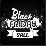 Insegna di vendita di Black Friday con il nastro bianco sul fondo del bokeh Fotografia Stock Libera da Diritti