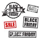 Insegna di vendita di Black Friday, manifesto, bollo di sconto Fotografie Stock Libere da Diritti