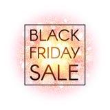 Insegna di vendita di Black Friday sul fondo astratto di esplosione con gli elementi brillanti dell'oro Manifesto di sconto Fuoco Immagini Stock