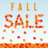 Insegna di vendita di caduta con le foglie di acero di caduta Fotografia Stock