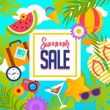 Insegna di vendita di estate con i pezzi di frutta matura, bacche su fondo variopinto Formato di vettore ENV 10 Fotografia Stock