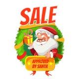 Insegna di vendita di inverno con il fumetto Santa Immagini Stock Libere da Diritti