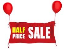 Insegna di vendita di metà prezzo Fotografia Stock