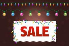 Insegna di vendita di Natale con le luci Immagini Stock Libere da Diritti