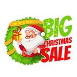 Insegna di vendita di Natale con Santa Immagine Stock