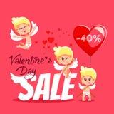 Insegna di vendita di San Valentino con i cupidi svegli del fumetto Fotografie Stock Libere da Diritti