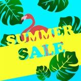 Insegna di vendita di estate con il fenicottero ed il fondo tropicale delle foglie illustrazione vettoriale