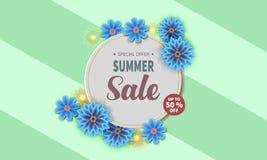 Insegna di vendita di estate con il fiore variopinto illustrazione di stock