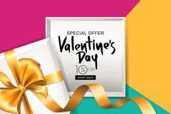 Insegna di vendita di giorno di biglietti di S. Valentino Contenitore di regalo con il nastro dorato Progetti per l'aletta di fil royalty illustrazione gratis