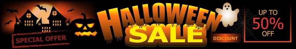 Insegna di vendita di Halloween Fondo con il vettore della zucca, del castello e del fantasma illustrazione di stock