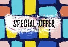Insegna di vendita di offerta speciale La carta disegnata a mano di sconto di stile di lerciume con la spazzola segna e spruzza immagine stock