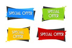 Insegna di vendita di offerta speciale per la vostra progettazione festival di evento di spazio di sconto Stile minimo Etichetta  Immagine Stock Libera da Diritti