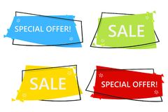 Insegna di vendita di offerta speciale per la vostra progettazione festival di evento di spazio di sconto Stile minimo Etichetta  Immagini Stock Libere da Diritti