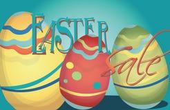 Insegna di vendita di Pasqua con le uova variopinte Fotografia Stock