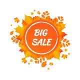 Insegna di vendita di vettore del fogliame di autunno dell'acquerello immagine stock