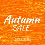 Insegna di vendita di vettore del fogliame di autunno dell'acquerello royalty illustrazione gratis