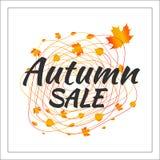 Insegna di vendita di vettore del fogliame di autunno dell'acquerello illustrazione vettoriale