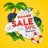 Insegna di vendita di WebSummer per lo sconto e la grande promozione di vendita con i beni tropicali e fondo giallo - vettore illustrazione vettoriale