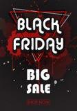 Insegna di vendite di Black Friday con le linee ed i triangoli Immagini Stock