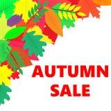 Insegna di vendite con le foglie di autunno Fotografie Stock Libere da Diritti