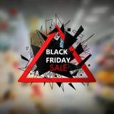 Insegna di vendite di Black Friday con le linee ed i triangoli Immagine Stock Libera da Diritti