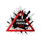 Insegna di vendite di Black Friday con le linee ed i triangoli Concetto del collegamento Visualizzazione di dati di Digital Rete  Immagine Stock