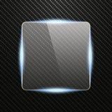Insegna di vetro trasparente con effetto della luce sul fondo del carbonio Immagine Stock Libera da Diritti