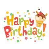 Insegna di vettore di buon compleanno con il gelato sveglio Immagine Stock Libera da Diritti