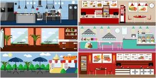 Insegna di vettore con gli interni del ristorante Cucina, sala da pranzo, caffè della via e fast food Illustrazione Fotografia Stock