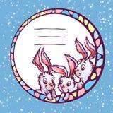 Insegna di vettore con i conigli svegli del fumetto Fotografia Stock