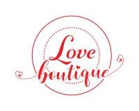 Insegna di vettore del boutique di amore illustrazione di stock