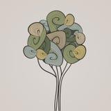 Insegna di vettore della natura L'estratto ondeggia l'albero Fotografia Stock Libera da Diritti