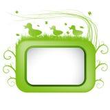 Insegna di vettore della primavera con erba verde e l'anatra. Fotografie Stock Libere da Diritti