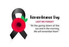 Insegna di vettore di giornata della memoria Affinchè non dimentichiamo Fiore rosso disegnato a mano del papavero fotografia stock