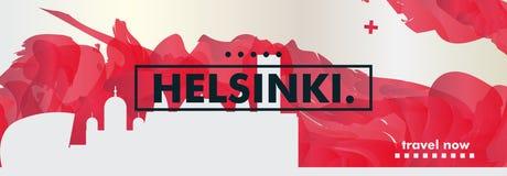 Insegna di vettore di pendenza della città dell'orizzonte della Finlandia Helsinki Immagine Stock Libera da Diritti