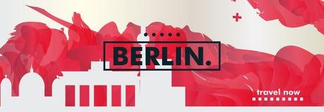 Insegna di vettore di pendenza della città dell'orizzonte di Gerlmany Berlino Fotografia Stock Libera da Diritti