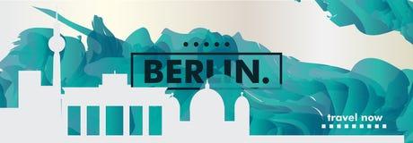 Insegna di vettore di pendenza della città dell'orizzonte di Gerlmany Berlino Immagine Stock Libera da Diritti