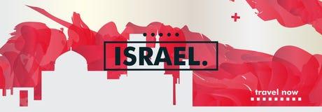 Insegna di vettore di pendenza della città dell'orizzonte di Israel Jerusalem Tel Aviv Immagini Stock