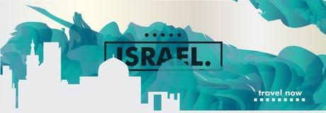 Insegna di vettore di pendenza della città dell'orizzonte di Israel Jerusalem Tel Aviv Immagine Stock