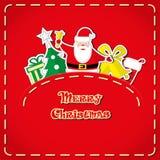 Insegna di vettore: Santa Claus sveglia, albero di Natale, contenitore di regalo, il calzino di Santa, campane in tasca dei jeans Fotografie Stock