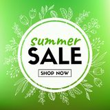 Insegna di vettore di vendita di estate con la corona floreale Immagine Stock