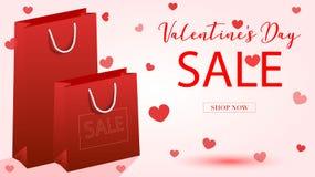 Insegna di vettore di vendita di giorno del ` s del biglietto di S. Valentino Immagini Stock Libere da Diritti