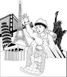 Insegna di viaggio illustrazione di stock