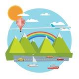 Insegna di viaggio Illustrazione piana di vettore Fotografia Stock