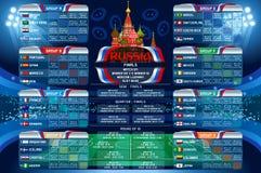 Insegna di web del calendario della coppa del Mondo della Russia illustrazione di stock