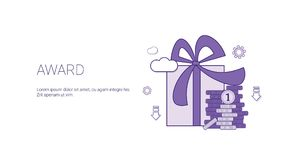 Insegna di web del regalo del premio con successo Victory Leadership Concept di affari dello spazio della copia Fotografie Stock